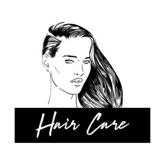 Beauty Illustration. Hand drawn fashion portrait of young woman with light make up and ponytail hairstyle. Logo Products for damaged and dry hair. Vector illustration. Hair care. Beautiful wavy hair