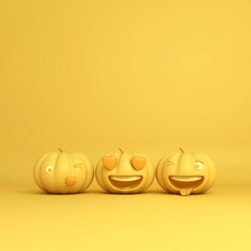 Cute smiling love bubble shape cartoon of yellow pastel pumpkin head jack and winking face with tongue emoji, copy space text. Design creative concept for happy Halloween day festival, 3D rendering.