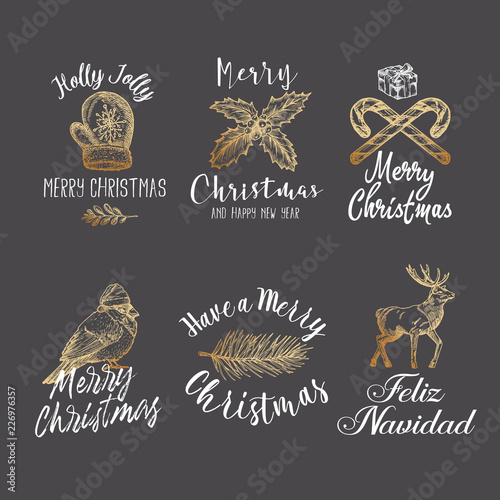 merry christmas and happy new year abstract vector signs labels or logo templates set
