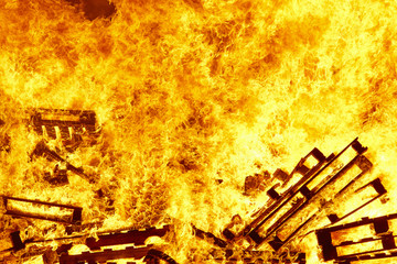 Burning fire. Bonfire. Fire fighting. Flame ignition. Warning