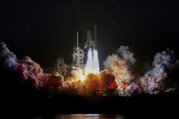 Fotobehang Nasa Spaceship launch at night, landscape with colorful smoke clouds and galaxy background. The elements of this image furnished by NASA.
