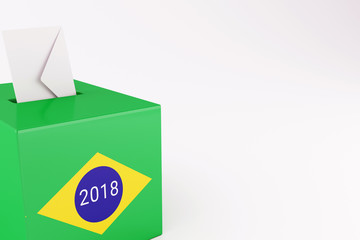 3d Ballot box with flag of Brazil. Elections 2018.