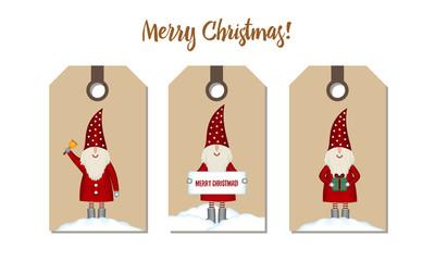 Set price tags isolated. Festive Christmas cartoon design.