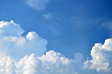 White clounds on blue sky background,use for backdrop or web design,soft focus.