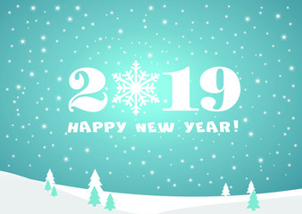 2019 Happy New Year blue gradient  background with white stars, firs and snowflakes for your Seasonal Flyers and Greetings Card or Christmas.
