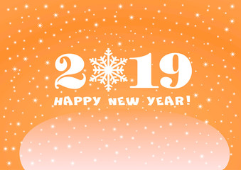 2019 Happy New Year orange background with white stars and snowflakes for your Seasonal Flyers and Greetings Card or Christmas.