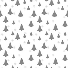 Christmas seamless pattern with christmas tree and snowflakes, vector background.Design template for wallpaper,fabric,wrapping,textile