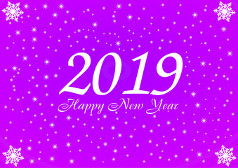 2019 Happy New Year violet background with white stars and snowflakes for your Seasonal Flyers and Greetings Card or Christmas.