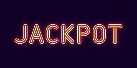 Neon inscription of Jackpot. Vector illustration