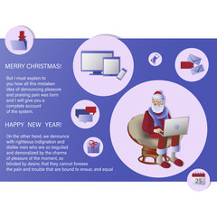 Christmas greetings. Santa Claus with a laptop. Design for poster, banner, flyers, cards, leaflets. Christmas letters, gifts from Santa. Messages about the sale, delivery and New Year's greetings.