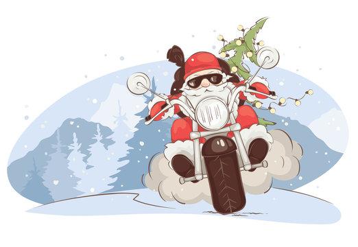 Christmas card -- Santa biker / Vector illustration, Santa Claus on chopper with gifts and trees