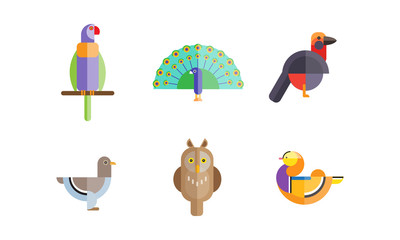 Birds set, owl, mandarin duck, parrot, dove, peacock, pigeon bird, colorful polygonal low poly geometric design vvector Illustrations on a white background