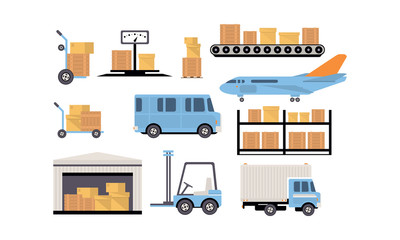 Merchandise warehouse and logistic, storage building, shelves with goods, cargo and unloading transport vector Illustration