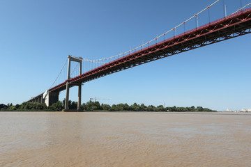 Pont d'Aquitaine suspension bridge spanning Garonne River in Bordeaux, Gironde in France