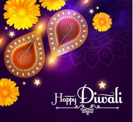 Happy Diwali. Traditional Indian Festival Background with Burning Diya Lamp. Hindu Holiday.