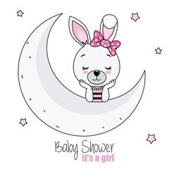 baby shower card girl. pretty bunny girl on the moon