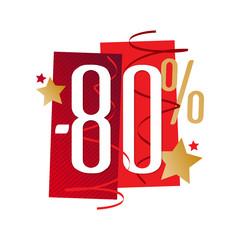 -80% / Pourcentage festif rouge et or