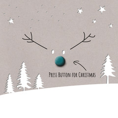 christmas card with reindeer and button