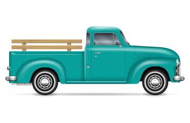 Retro pickup vector illustration on white background. Isolated green old truck side view. All elements in the groups on separate layers for easy editing and recolor.