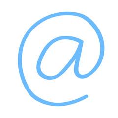 Handgezeichnetes At-Symbol in dunkelblau
