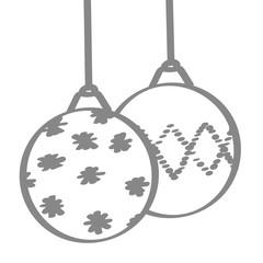 Handgezeichnete Christbaumkugeln in grau