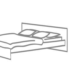 Handgezeichnetes Bett in grau