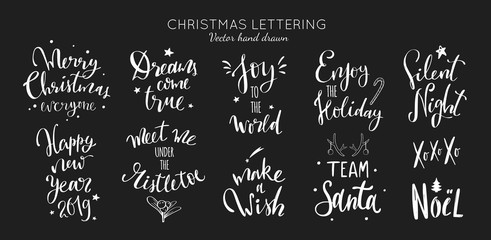 Christmas and New Year Lettering and Calligraphy phrases