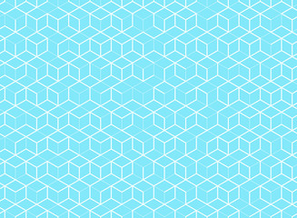 Abstract cube pattern on blue background. Digital geometric lines square mesh.