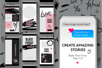 Editable Instagram Stories template. Black Friday, streaming, vector illustration.