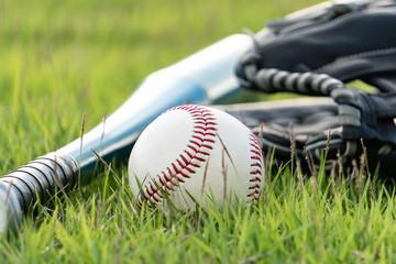 Baseball equipment on the lawn