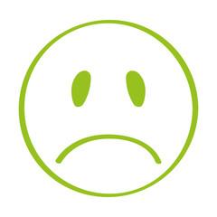Handgezeichneter trauriger Smiley in hellgrün