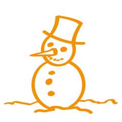 Handgezeichneter Schneemann in orange