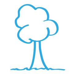 Handgezeichneter Baum in blau