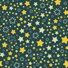 Stars and night sky Christmass Seamless vector EPS 10. Flat geometric pattern texture. Multicolor abstract background for print and textile