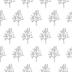 simple tree seamless pattern isolated on white background