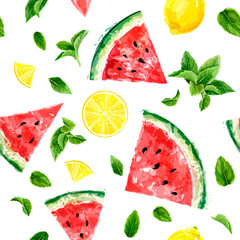 Seamless pattern with slices of watermelon, lemon and meant leaves on white background. Summer concept. Vector watercolor