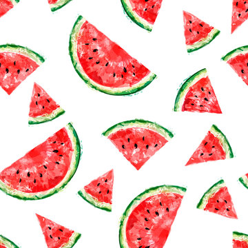 Seamless pattern with slices of watermelon on white background. Summer concept. Vector watercolor