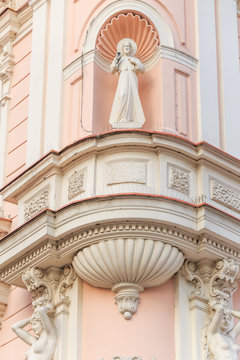 Fragments of facade of an Art Nouveau tenement house located on northern frontage of Old Market Square in Przemysl, Poland