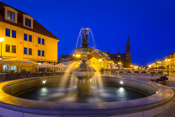 Fountain on the main square of Bialystok at night, Poland.