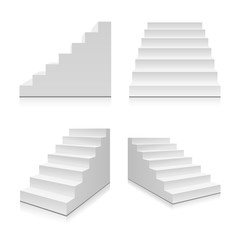 Realistic stairs. Illustration isolated on background. Graphic concept for your design