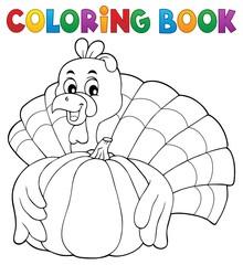 Coloring book turkey bird and pumpkin 1