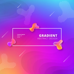 Abstract gradient background design - futuristic fluid style background with frame and abstract graphic elements