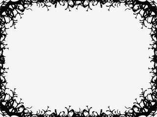 Halloween frame October 31st. Scary branch borders. Holiday greeting card. Vector illustration