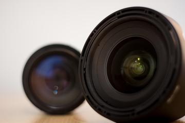 objetivo de cámara gran angular negro