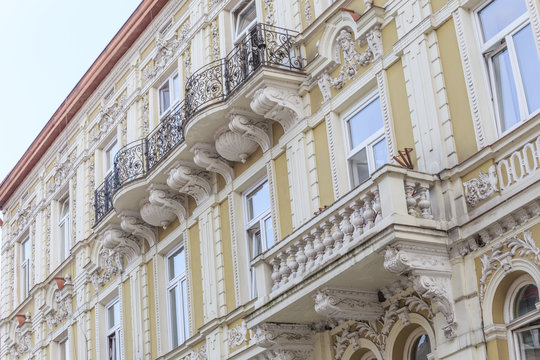 Fragments of facade of an Art Nouveau tenement house located on eastern frontage of Old Market Square in Przemysl, Poland