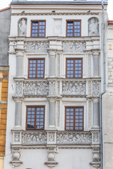 Fototapeta Fragments of facade of an Art Nouveau tenement house located on southern frontage of Old Market Square in Przemysl, Poland