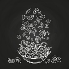 Hand drawn salad isolated on chalkboard background. Sketches healthy food bowl with tomatoes, ollives, greens illustration