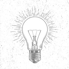 Sketch light bulb on grunge background vector poster isolated on white illustration