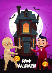 Children in monster costumes mummy and dracula at background home Tricks Or Treat Happy Halloween banner