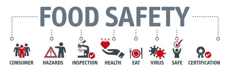 Food safety banner concept. Vector illustration